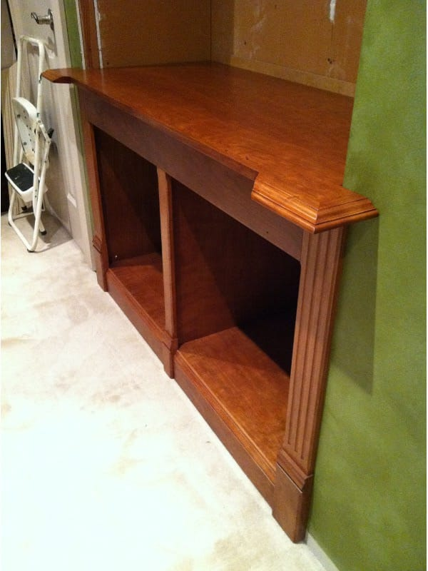 Bookcase base cabinet installation