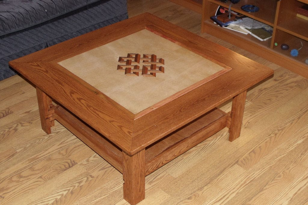 Marquetry veneer vs scroll saw general woodworking for Shallow coffee table