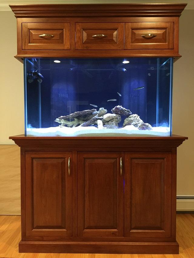 Custom cherry aquarium stand project showcase wood for Custom fish tank stand