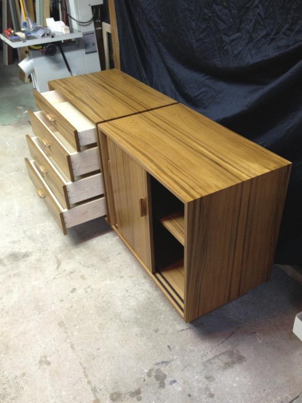 Teak cabinets for a customer