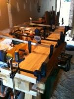 Lumber Bench Top 1 - Gluing up one section