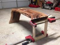 Temporary leg for the end… not sure how I want this leg to end up… but crate plywood is not my idea of finished