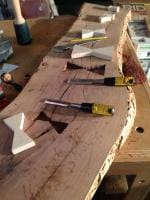 finishing up the mortises for the keys with a chisel