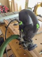 using the Festool domino XL to cut the mortises in the styles for the support trusses