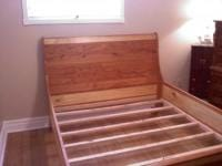 Sleigh Bed with slats in newly painted bedroom