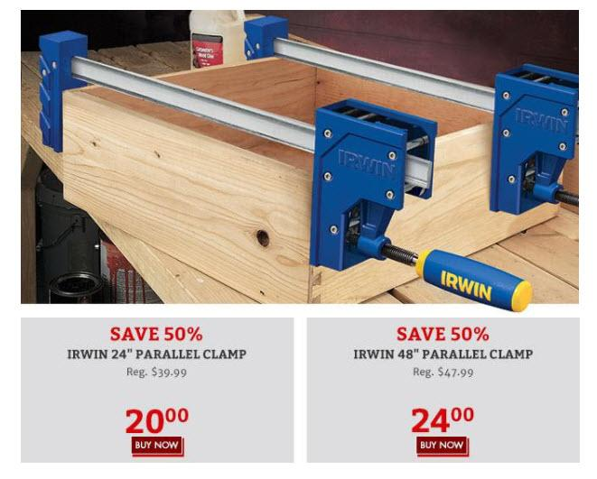 Irwin Parallel Clamp Sale 50 General Woodworking Talk Wood